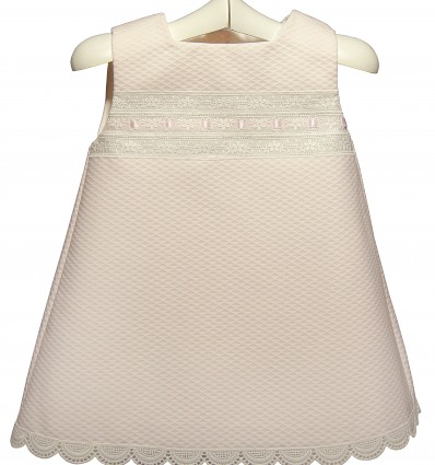 Vestido de piqué rosa para bebé e infantil