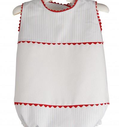 Ranita para bebé de piqué de rayas y piculina roja