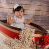 Vestido para bebé y niña de piqué de rayas y piculina roja