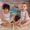Conjunto de vestido y capota para bebé y niña de piqué de rayas y piculina roja