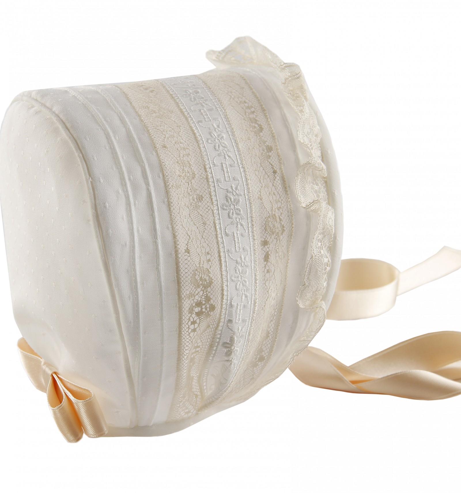Comprar capota de bautizo y ceremonia de bebe con entredoses y jaretas c71be5a014d