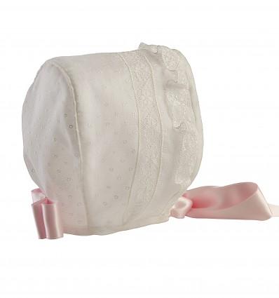Capota para bebé de muselina bordada