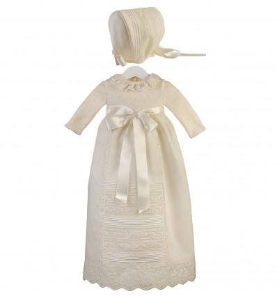 Conjunto de faldón para ceremonia y bautizo con cuerpo de lana merino y capota