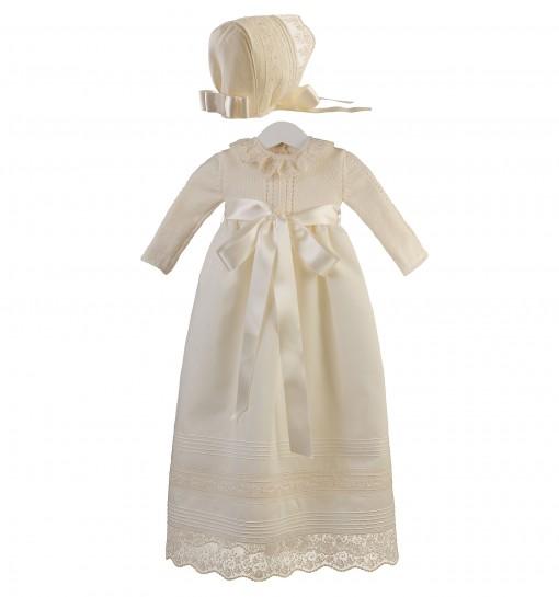 4639ee9c3 Conjunto de faldón y capota para ceremonia y bautizo con cuerpo de lana  merino y entredoses ...