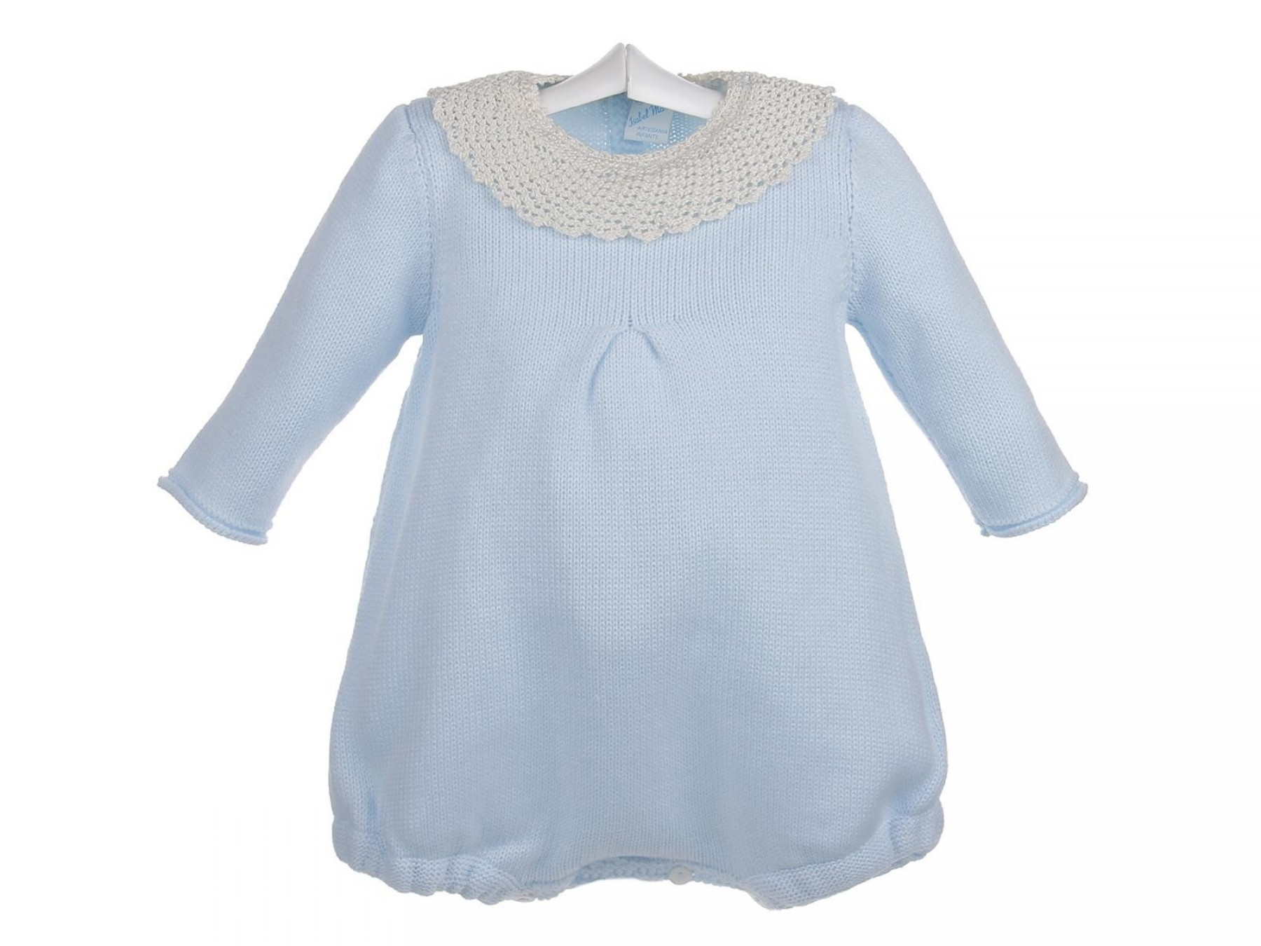 87600ceab Ranita de lana para bebés con encaje de ganchillo en el cuello