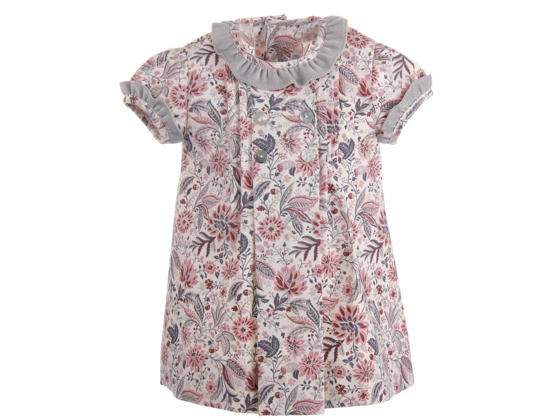Vestido Para Bebé Marfil Con Estampado En Rosa