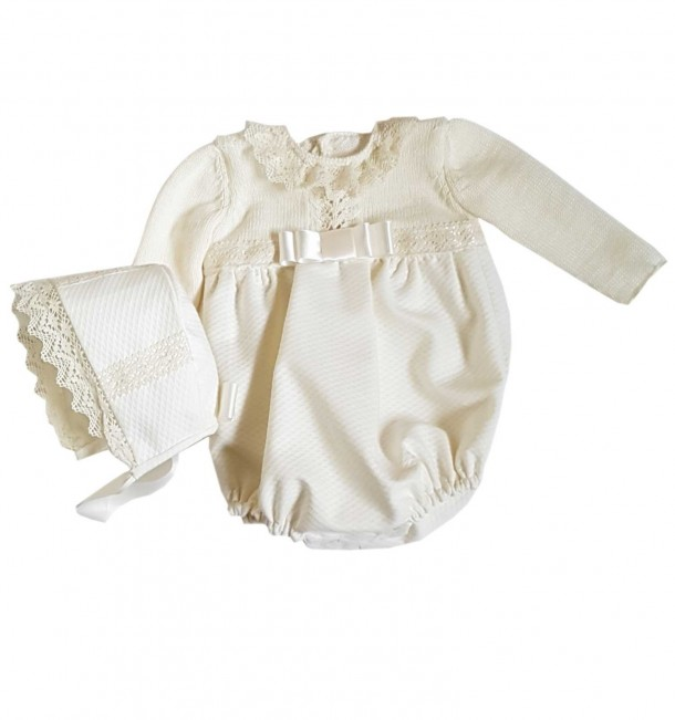 Merino wool and piqué Baby romper for ceremony and christening