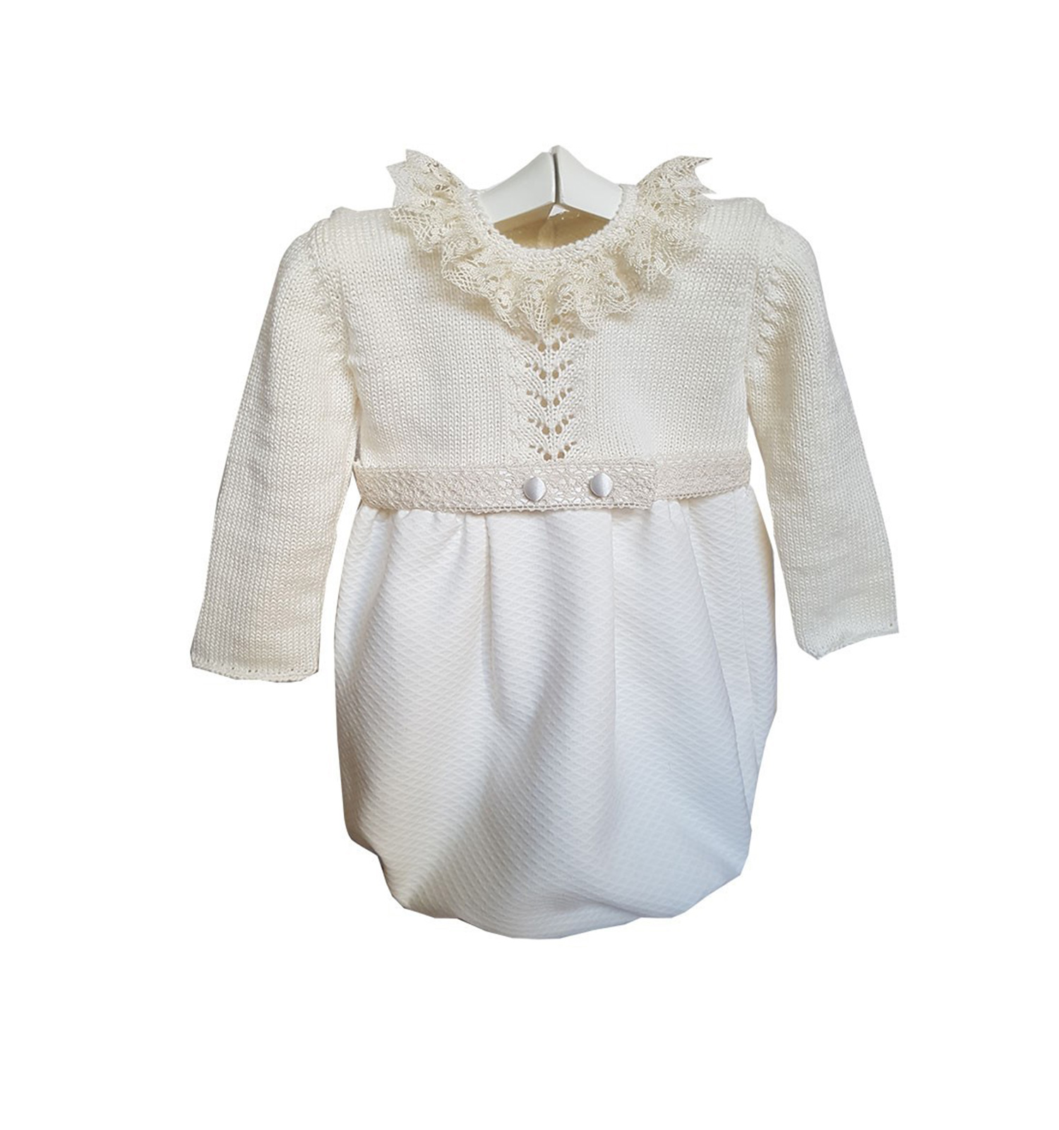 Ceremony and christening gown in merino wool and piqué